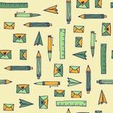 减速火箭的乱画办公室手拉的样式。无缝。 库存照片