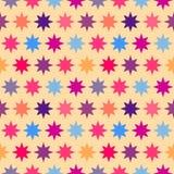 减速火箭的五颜六色的星无缝的样式 免版税库存照片