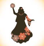 减速火箭的传统衣裳的跳舞妇女 葡萄酒礼服的女孩有小手鼓的 概略妇女剪影 吉普赛人 免版税库存图片