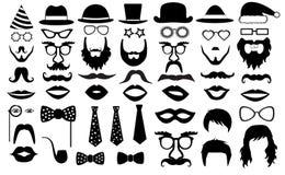 减速火箭的党集合 玻璃,帽子,嘴唇,髭,领带,胡子,单片眼镜,象 传染媒介例证剪影 免版税库存照片