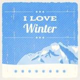 减速火箭的冬天风景 免版税库存照片