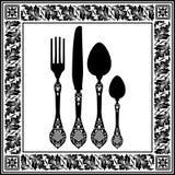 减速火箭的刀叉餐具 图库摄影