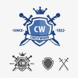 减速火箭的剑徽章和盾商标设计 库存图片