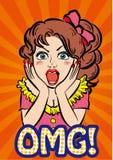 减速火箭的动画片流行艺术-女孩- OMG 库存例证