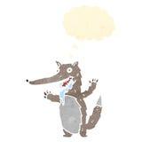 减速火箭的动画片饥饿的狼 免版税库存照片