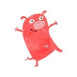 减速火箭的动画片小猪 免版税库存照片