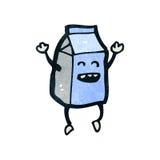 减速火箭的动画片愉快的牛奶纸盒 免版税库存照片