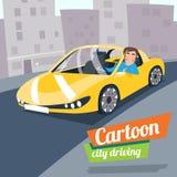 减速火箭的动画片跑车运输愉快的司机 免版税图库摄影
