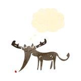 减速火箭的动画片驯鹿 免版税库存照片