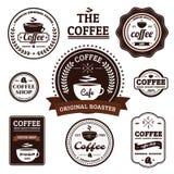减速火箭的咖啡标签设计的汇集 免版税库存图片