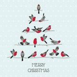 减速火箭的圣诞卡-在圣诞树的鸟 库存图片