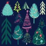 减速火箭的圣诞树的葡萄酒图表多色可爱的假日新年样式 库存例证