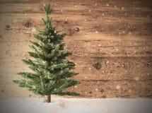 减速火箭的圣诞树,雪,拷贝空间,木背景 免版税图库摄影