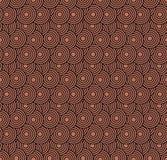 减速火箭的墙纸 与圈子的抽象无缝的几何样式在红色 免版税库存照片