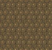 减速火箭的墙纸 与圈子的抽象无缝的几何样式在褐色 免版税库存图片
