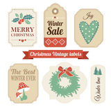 减速火箭的套圣诞节葡萄酒礼物,销售标签,标记 免版税库存图片