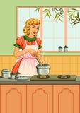 减速火箭的妇女在厨房里 免版税库存图片
