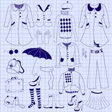 减速火箭的妇女穿衣,在笔记本板料的画图铅笔 免版税库存图片