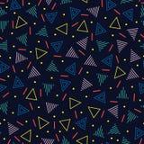减速火箭的孟菲斯几何线形无缝的样式 行家时尚80-90s 抽象混杂纹理 黑色白色 库存例证