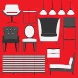 减速火箭的家具和家庭辅助部件 免版税图库摄影