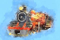 减速火箭的小河活动火车铁路引擎绘画 免版税库存照片