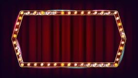 减速火箭的广告牌传染媒介 光亮的轻的标志板 现实亮光灯框架 3D电发光的元素 狂欢节 皇族释放例证