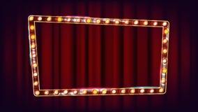 减速火箭的广告牌传染媒介 光亮的轻的标志板 葡萄酒金黄被阐明的霓虹灯 狂欢节,马戏,赌博娱乐场样式 皇族释放例证