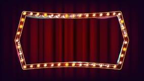 减速火箭的广告牌传染媒介 现实亮光灯框架 3D电发光的元素 葡萄酒金黄被阐明的霓虹灯 皇族释放例证