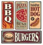 减速火箭的快餐罐子标志 免版税库存图片