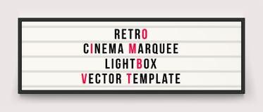 减速火箭的戏院大门罩lightbox传染媒介模板 库存例证
