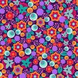 减速火箭的抽象与逗人喜爱和明亮的简单的花的花卉图案传染媒介无缝的样式 库存图片