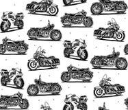 减速火箭的摩托车无缝的样式 图库摄影