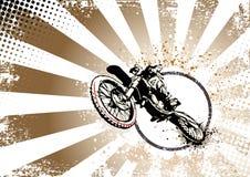 减速火箭的摩托车越野赛海报背景 库存照片