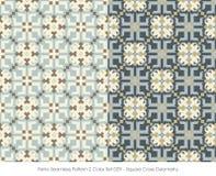减速火箭的无缝的样式2颜色Set_029正方形十字架几何 免版税库存照片