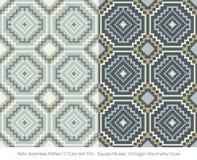 减速火箭的无缝的样式2颜色Set_376正方形马赛克八角形物几何十字架 库存照片