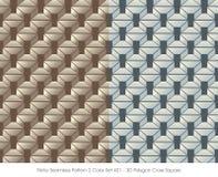 减速火箭的无缝的样式2颜色Set_401 3D多角形十字架正方形 库存照片