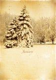 减速火箭的日历。1月。葡萄酒冬天风景。 免版税库存照片