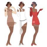 减速火箭的时尚:二十(非裔美国人的妇女)的魅力女孩 向量例证