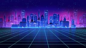 减速火箭的未来派摩天大楼城市20世纪80年代称呼3d例证 库存照片
