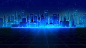 减速火箭的未来派摩天大楼城市20世纪80年代称呼3d例证 库存图片