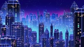 减速火箭的未来派摩天大楼城市20世纪80年代称呼3d例证 免版税库存图片