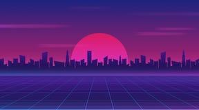 减速火箭的未来80s样式科学幻想小说墙纸 未来派夜城市 在黑暗的背景的都市风景与明亮和发光的霓虹紫色 向量例证