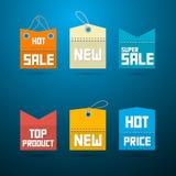 减速火箭的标签,标记。畅销品,新,超级销售,顶面产品。 免版税库存图片