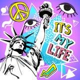 减速火箭的样式党五颜六色的例证 80s时尚、80s海报和横幅 孟菲斯设计元素和自由女神像, Americ 免版税库存图片
