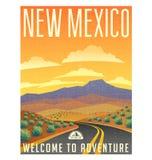 减速火箭的样式旅行海报美国,新墨西哥沙漠 库存照片