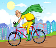 减速火箭的样式漫画超级英雄老人 库存图片
