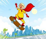 减速火箭的样式漫画超级英雄老妇人 免版税库存图片