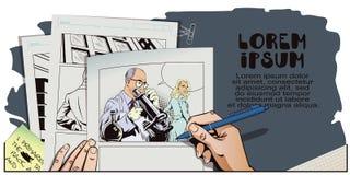 减速火箭的样式的人们 有显微镜的科学家 免版税库存图片