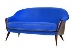 减速火箭的样式蓝色沙发60样式古董 免版税库存照片