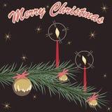 减速火箭的棕色和绿色圣诞节装饰品卡片 库存照片